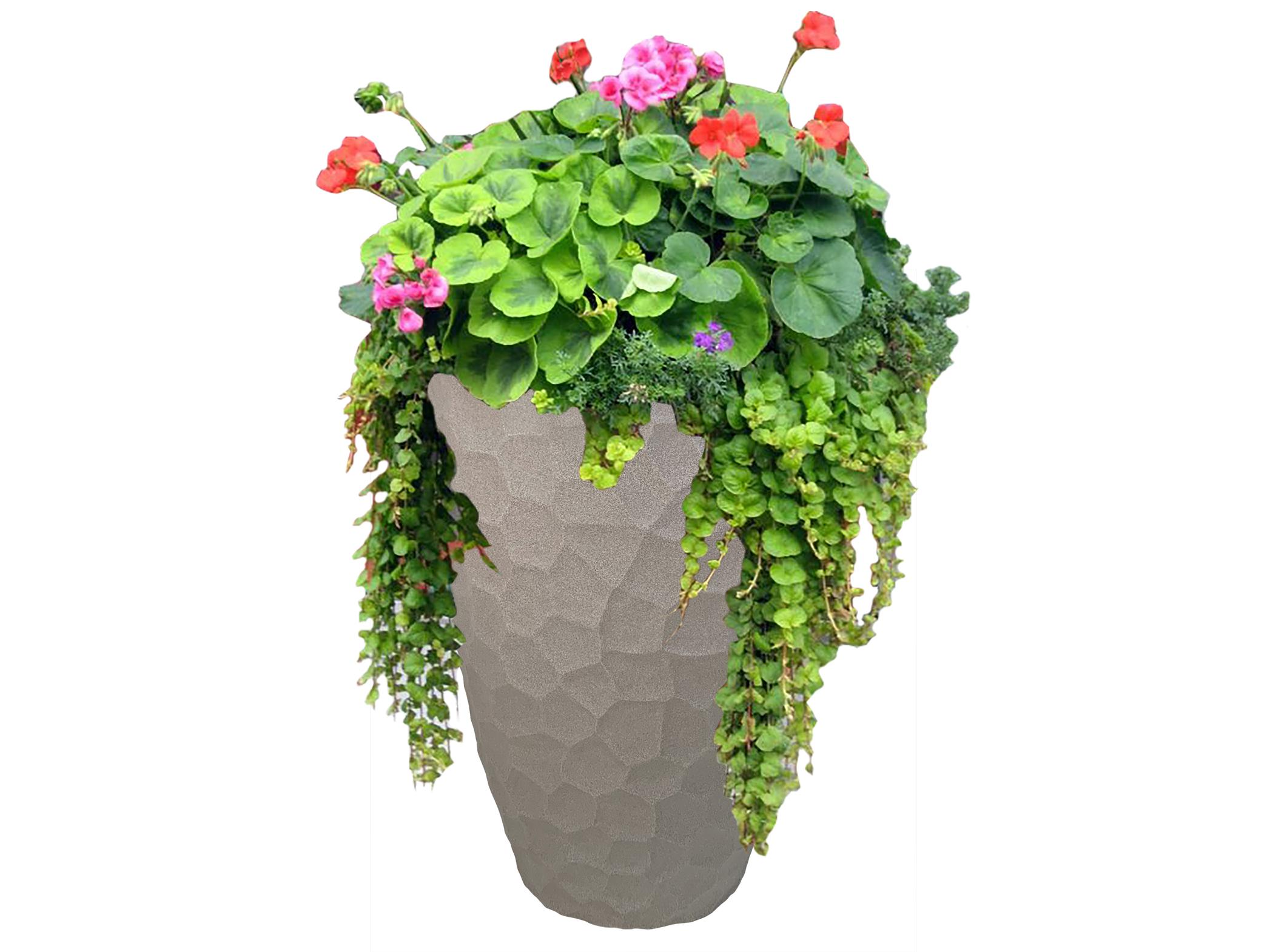 120-JVOPSETS-JP_Prisma Conic Planter Set_Sandstone_Large with arrangement
